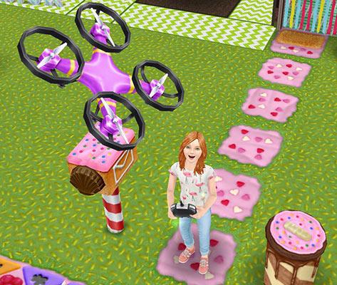 ドローンを飛ばして喜ぶ小学生シム(The Sims フリープレイ)