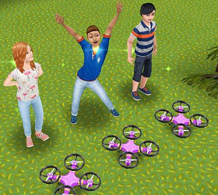 ドローンを元の位置に戻して満足そうな小学生シムたち(The Sims フリープレイ)