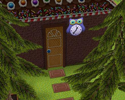 フクロウ時計がついた家の扉(The Sims フリープレイ)