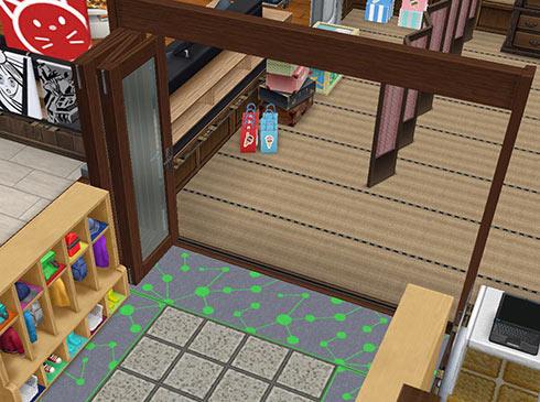 開いたままにした、折りたたみドア(The Sims フリープレイ)