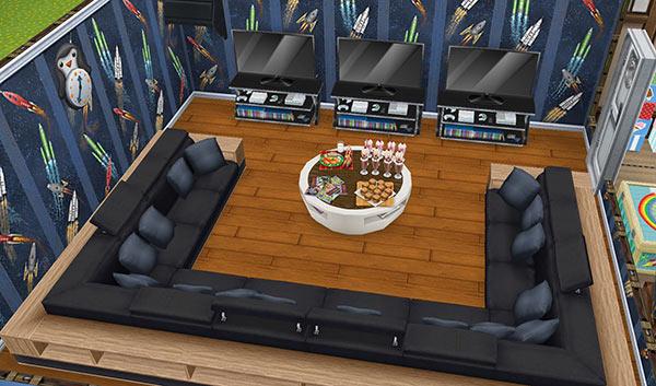 キッズのお泊まり会ハウス ゲームパーティールーム(The Sims フリープレイ)