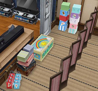畳廊下に置かれた収納箱やパーティーボックス、パーティーバッグ、ドレスアップチェスト(The Sims フリープレイ)