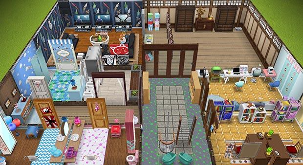 キッズのお泊まり会ハウス 地下 全体図(The Sims フリープレイ)