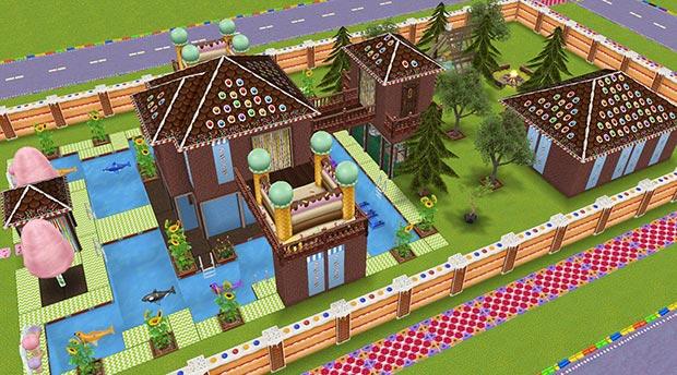 キッズのお泊まり会ハウス 外観 全体図 横から(The Sims フリープレイ)