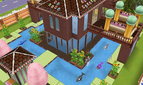 キッズのお泊まり会ハウス 正面外観 ななめ(The Sims フリープレイ)