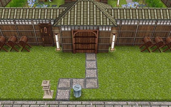 あじさい彩る梅雨の日本家屋 正面 長屋門(The Sims フリープレイ)