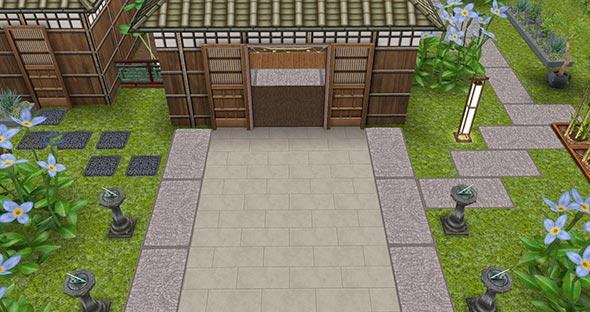 あじさい彩る梅雨の日本家屋 玄関前の石畳広場(The Sims フリープレイ)