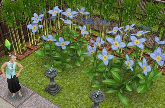 紫陽花に見立てた「巨大ユーストニア」、石灯籠に見立てた「小屋の日時計」(The Sims フリープレイ)