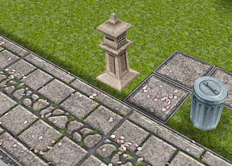石灯籠スタイルの郵便受け、桜の花びらが散る石畳(The Sims フリープレイ)