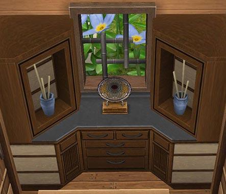 廊下の窓から見える紫陽花(The Sims フリープレイ)