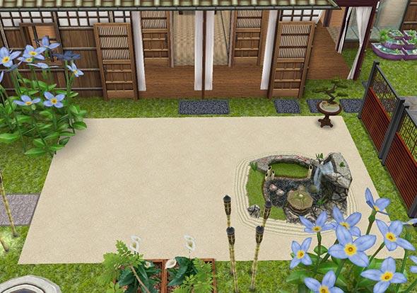 あじさい彩る和風の庭(The Sims フリープレイ)