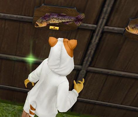 魚を狙う化け猫と、歌うサケ(The Sims フリープレイ)