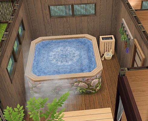 和風の風呂場、薬湯(The Sims フリープレイ)