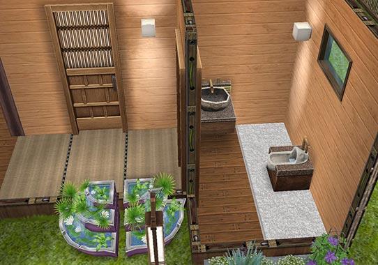 厠と手水鉢(に見立てた噴水)(The Sims フリープレイ)