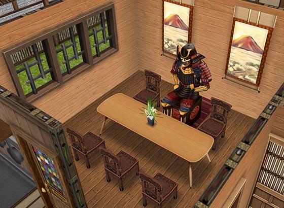 憧れの武将といただく精進料理ダイニングルーム(The Sims フリープレイ)