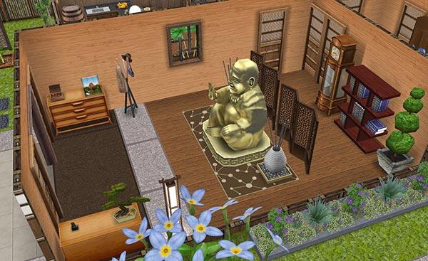 あじさい彩る梅雨の日本家屋 玄関(The Sims フリープレイ)