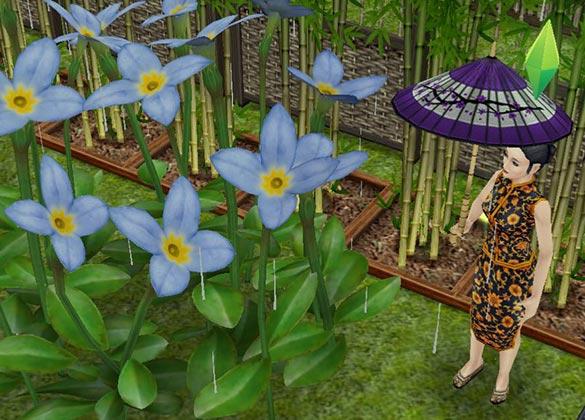 雨の中、傘をさして紫陽花を眺める奥様シム(The Sims フリープレイ)