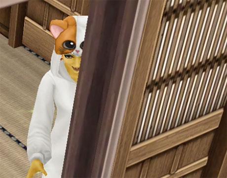 物陰から不敵に笑う化け猫シム(The Sims フリープレイ)