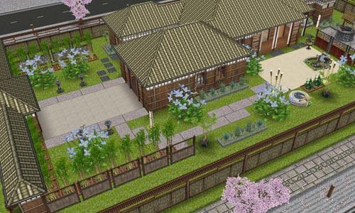 あじさい彩る梅雨の日本家屋 外観(The Sims フリープレイ)