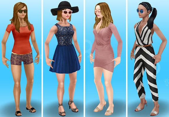 サングラスをかけてみた女性シムたち(The Sims フリープレイ)