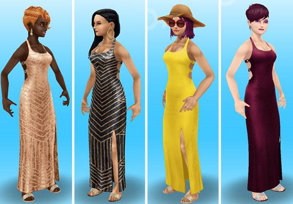 マキシドレスを着てみた女性シムたち、全身ショット(The Sims フリープレイ)