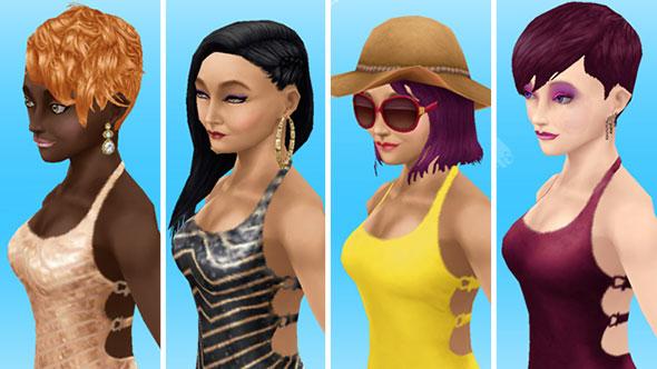 マキシドレスを着てみた女性シムたち、上半身ショット(The Sims フリープレイ)