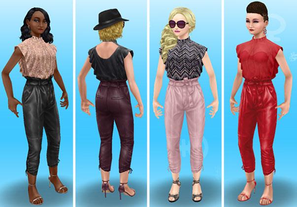 フリルトップ&レザーパンツを着てみた女性シムたち、全身ショット(The Sims フリープレイ)