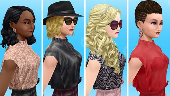 フリルトップ&レザーパンツを着てみた女性シムたち、上半身ショット(The Sims フリープレイ)
