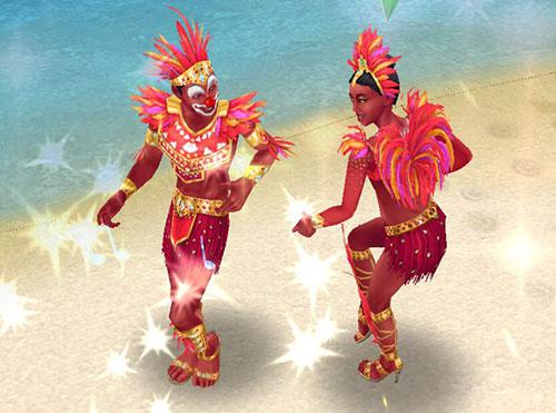 ノリノリで踊るカーニバル姿のシムたち(The Sims フリープレイ)