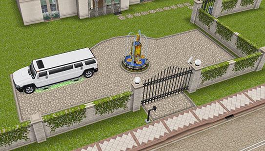 ティーンアイドルのマンション 正門広場(The Sims フリープレイ)