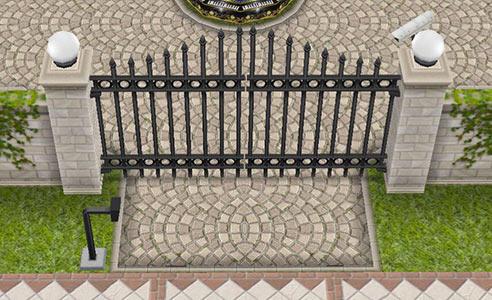 ティーンアイドルのマンション 車用の正門(The Sims フリープレイ)