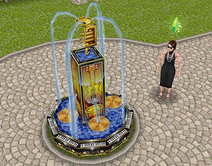 ティーンアイドルのマンションにある楽器の噴水(The Sims フリープレイ)