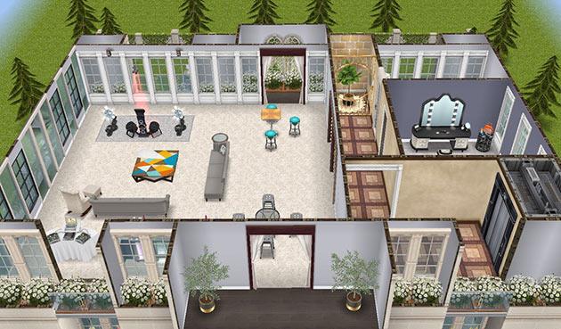 映画スターの大豪邸タワー 最上階(The Sims フリープレイ)