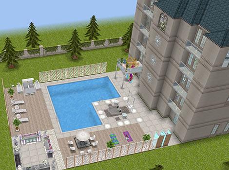 映画スターの大豪邸タワー 外観・プール・プールサイド(The Sims フリープレイ)