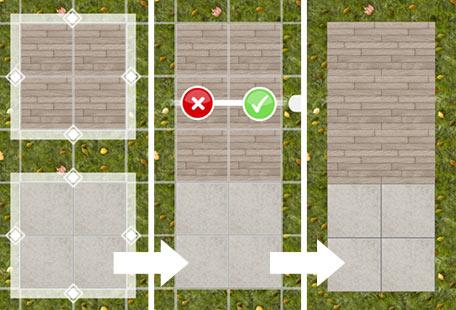 2種類の舗装が隣り合うパティオ(The Sims フリープレイ)