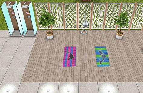 プールサイドのヨガスペース(The Sims フリープレイ)