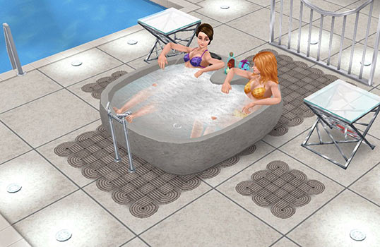 プール横のホットタブ(The Sims フリープレイ)