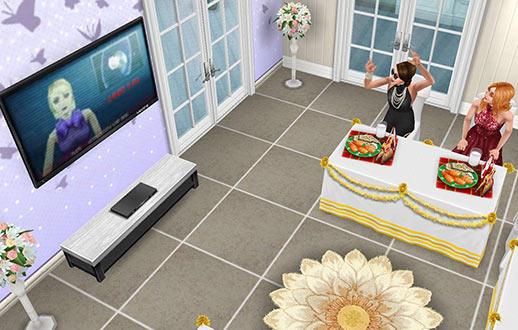 ゲストダイニングルームで、テレビを見ながら盛り上がる女優シム(The Sims フリープレイ)