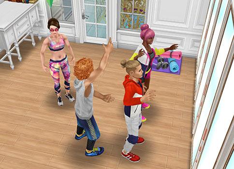 演技スタジオでワークショップをするシムたち(The Sims フリープレイ)