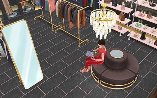 ウォークインクローゼット 鏡と丸いソファ(The Sims フリープレイ)