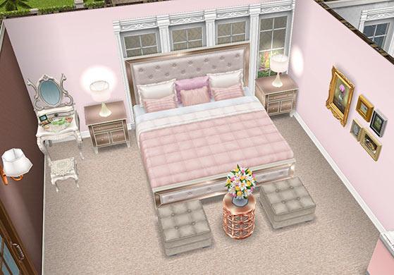 女優シムのベッドルーム(The Sims フリープレイ)