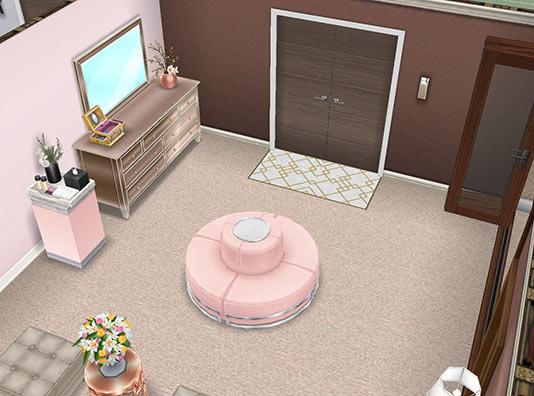 女優シムの寝室 リビングスペース(The Sims フリープレイ)