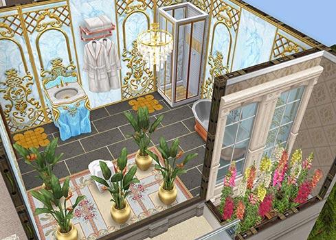 マスターベッドルームのバスルーム(The Sims フリープレイ)