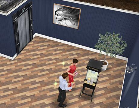 地下映画館ロビーにある、エレベーター、ポップコーンマシン(The Sims フリープレイ)