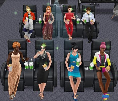 ホームシアターで映画を楽しむシムたち(The Sims フリープレイ)