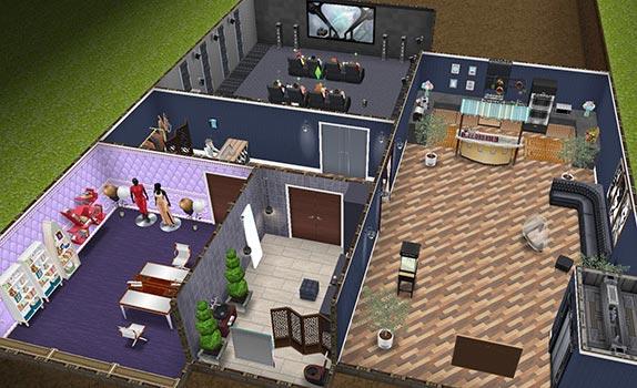 映画スターの大豪邸タワー、地下映画館フロア(The Sims フリープレイ)