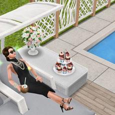 プールサイドで優雅にくつろぐ女優シム(The Sims フリープレイ)