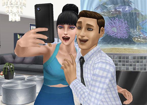 ARモードで「ロマンチックな自撮り」を楽しむ男女シム(The Sims フリープレイ)