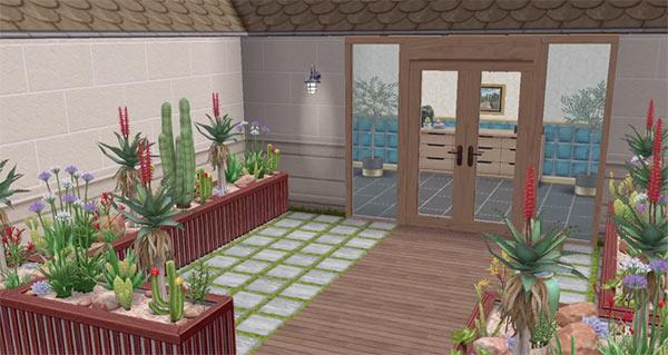 ARモードで見る、美容スパの玄関前(The Sims フリープレイ)
