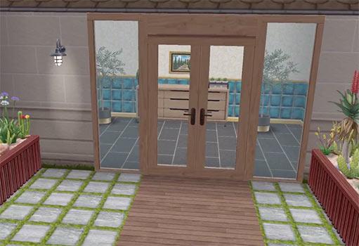 ARモードで見る、美容スパの玄関ドア(The Sims フリープレイ)
